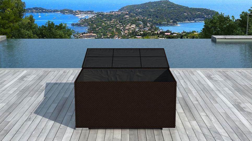 Coffre de rangement en résine tressée Chocolat - BOX