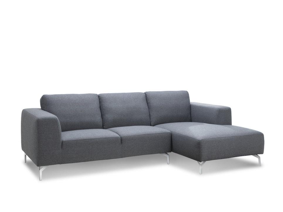 Canapé d'angle design en tissu Gris 2m50 - TIM
