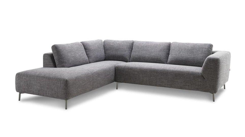 Salon canapé d\'angle design avec méridienne en tissu gris Narbonne