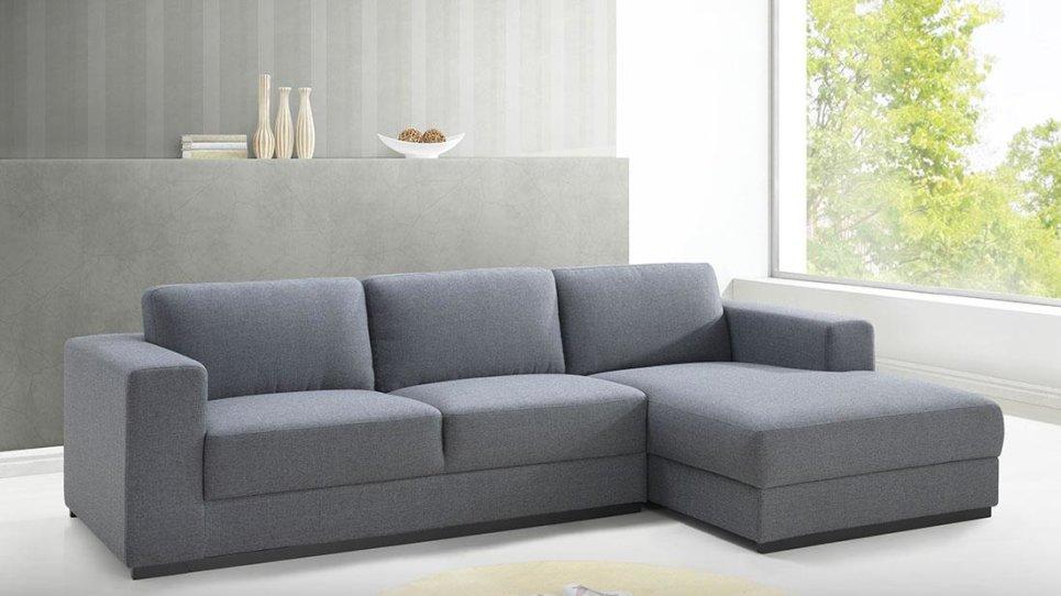 Canapé D'Angle Design En Tissu Gris City - Angle Droit Ou Gauche