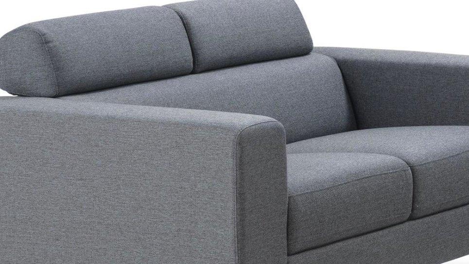 Canapé moderne 2 places en tissu Gris - PURE