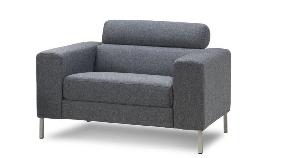 Fauteuil lounge design tissu gris anthracite