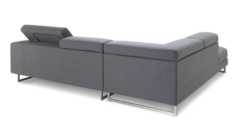 Canapé d'angle avec appuis-tête en tissu - STREET GRIS CITY