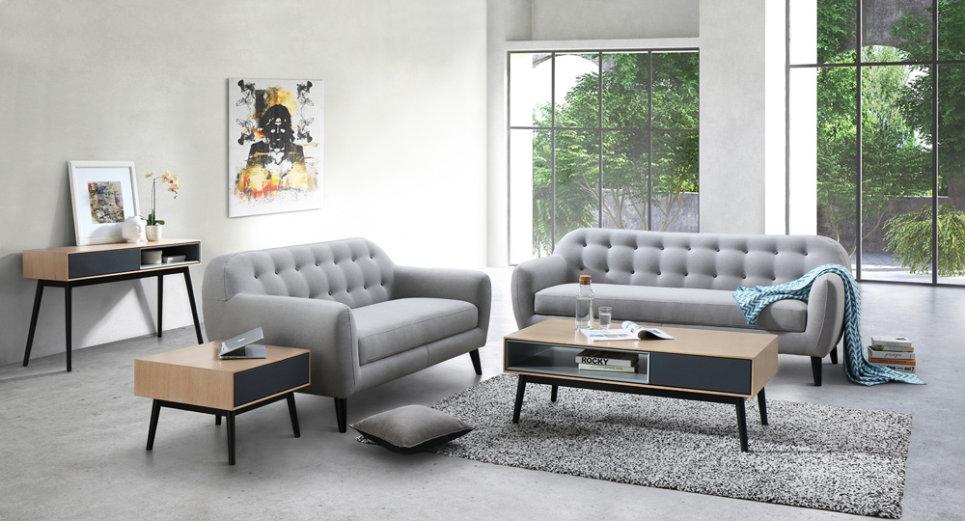 STRADA Grey Clair - Canapé 3 places fixe en tissu