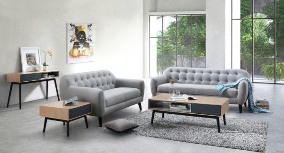 STRADA Grey Clair - Canapé 2 places fixe en tissu