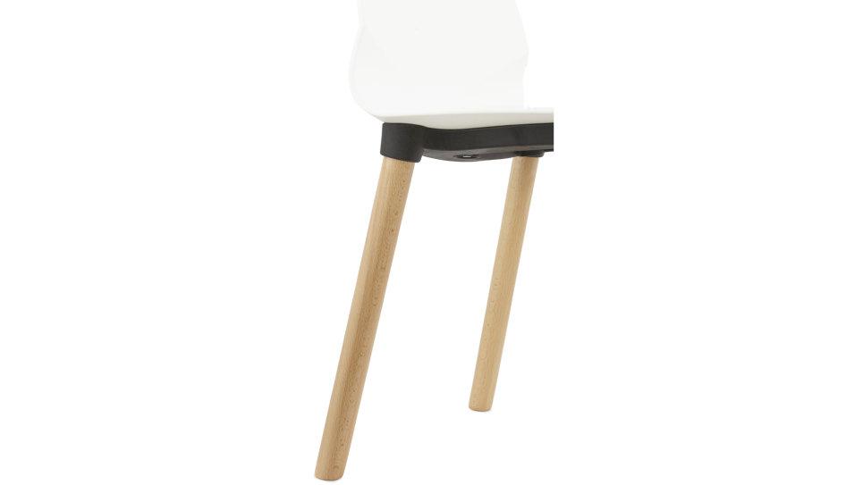 Chaise contemporaine Blanche pieds bois - Feuille