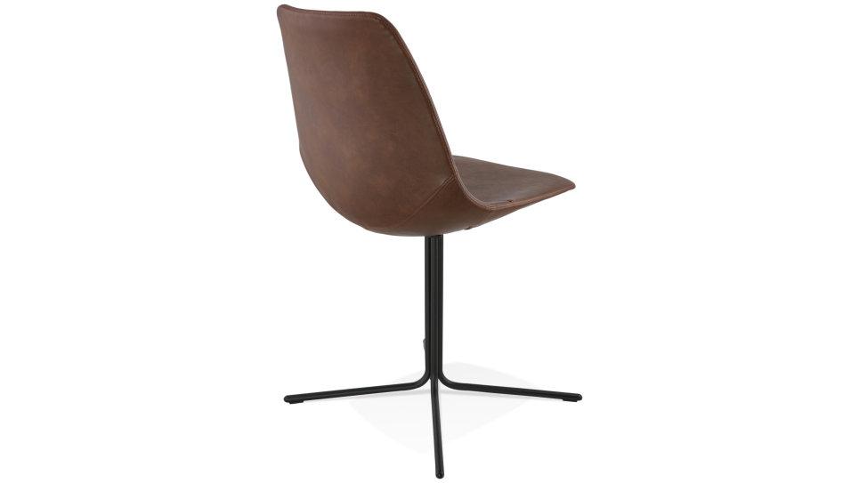 Chaise moderne similicuir Brun - Croix
