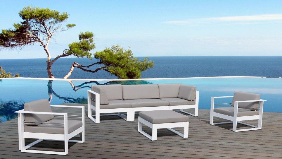 Salon de jardin aluminium haut de gamme 5 places st tropez - Canape jardin aluminium ...
