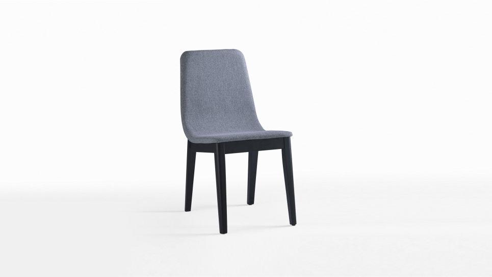 Chaise Tissu Gris Design Avec Pieds En Bois