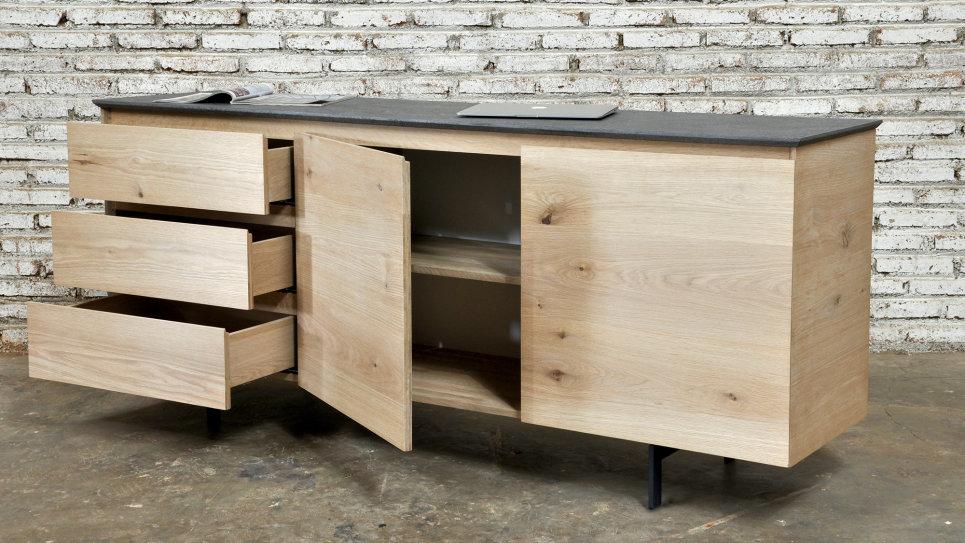 Buffet en chêne massif 3 tiroirs 2 portes - MITRA