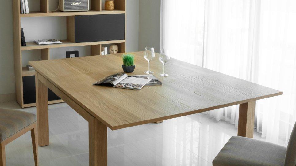 Table carrée avec rallonge en chêne massif - NATHAN
