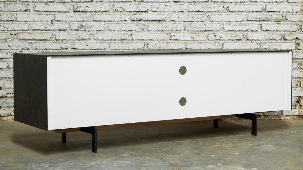 Meuble Tv chêne massif 1 portes 1 tiroirs 2 niches - XENA