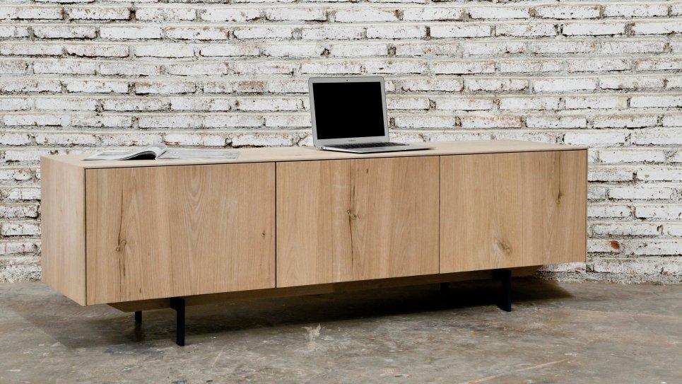 Meuble TV en chêne massif 1 tiroir 1 porte rabattable - XENOS