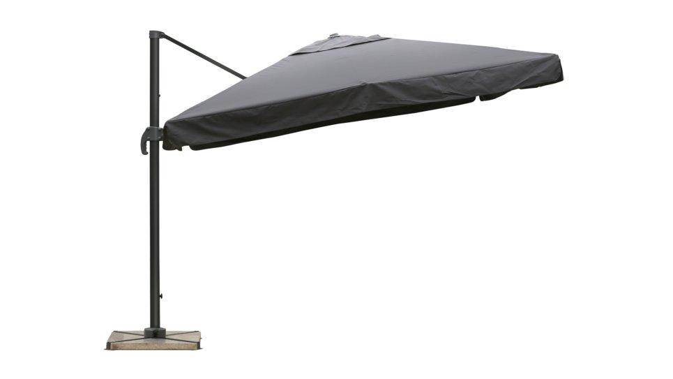 Parasol déporté 3x3 gris UPF 50+ avec flap - NAP
