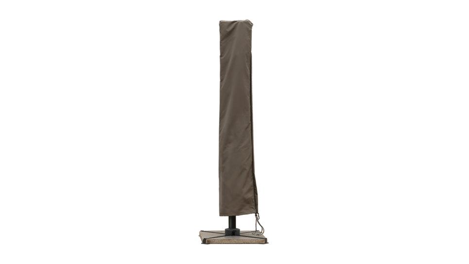 Parasol déporté 3 x 3 taupe UPF 50+ avec Flap - NAP + Dalles Ciment