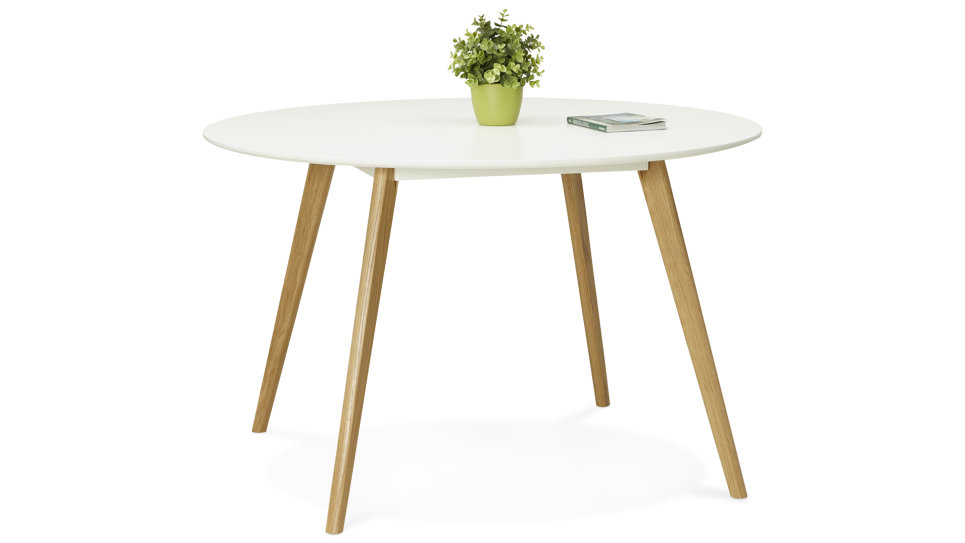 Table de repas ronde Plateau blanc D120cm - LOLA