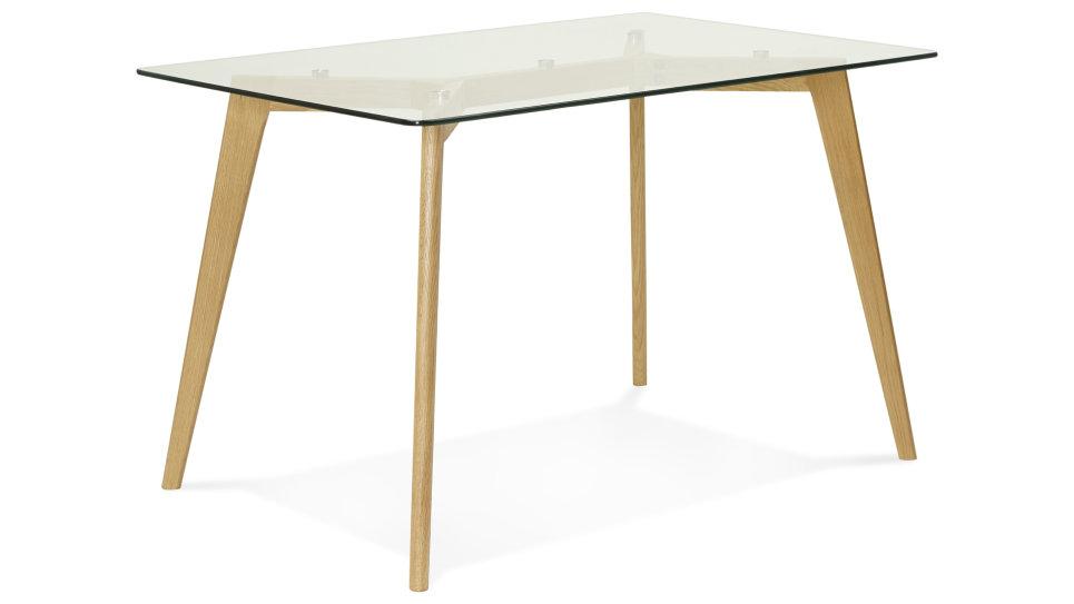 Table bureau moderne 120 x 80 cm plateau verre lilou
