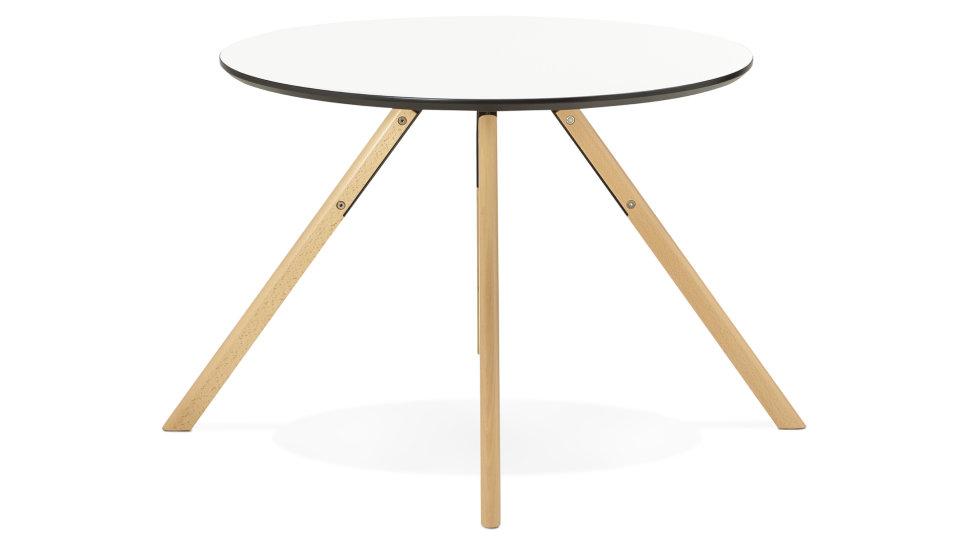 Table de repas ronde D100 cm plateau blanc - Yara