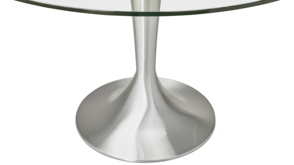 Table de repas ronde plateau transparent - Sweet