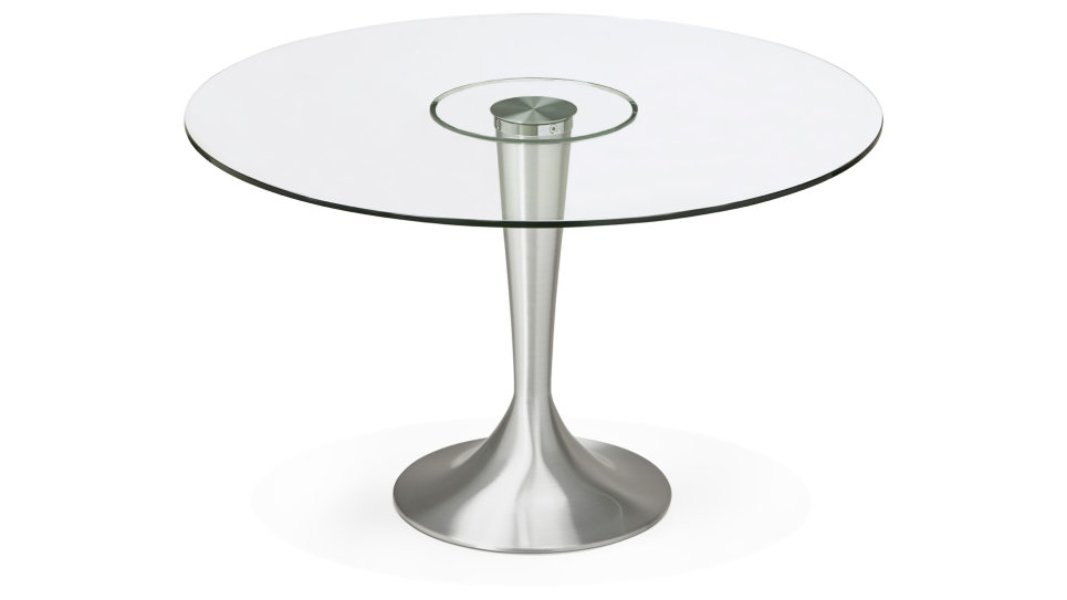 Table de repas ronde plateau transparent - Sweet