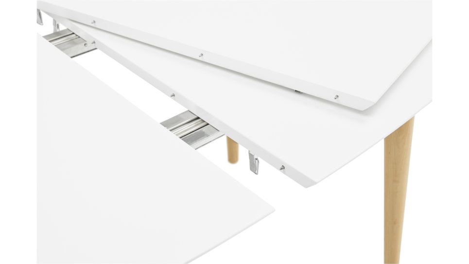 Table extensible blanche pied bois - Louisa