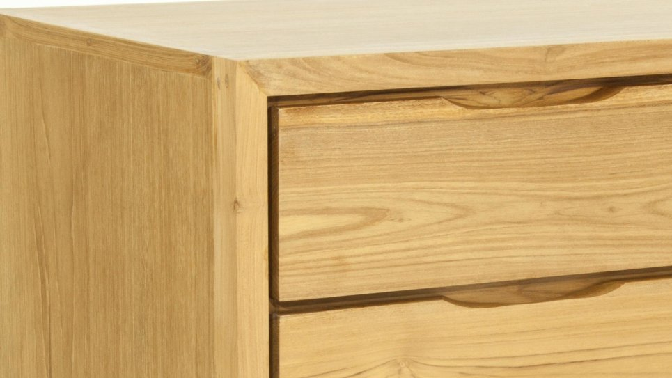 Commode en teck massif 4 tiroirs Fiftees