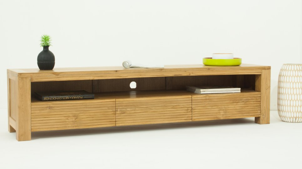 Meuble tv design en teck naturel grande taille 170 cm 3 tiroirs - Meuble tv contemporain bois ...