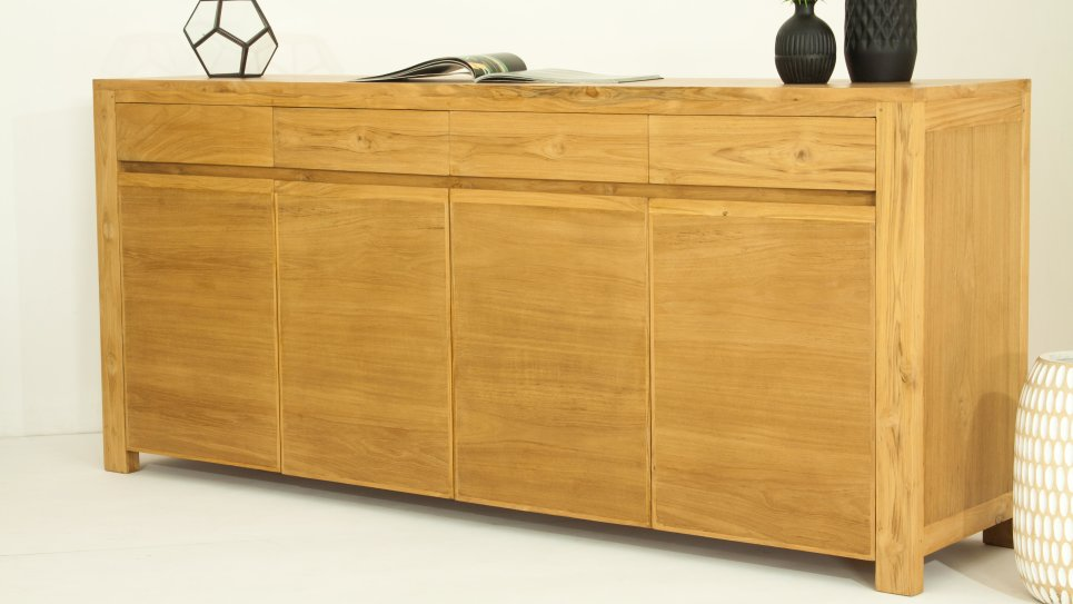 Buffet design 4 portes en teck massif naturel