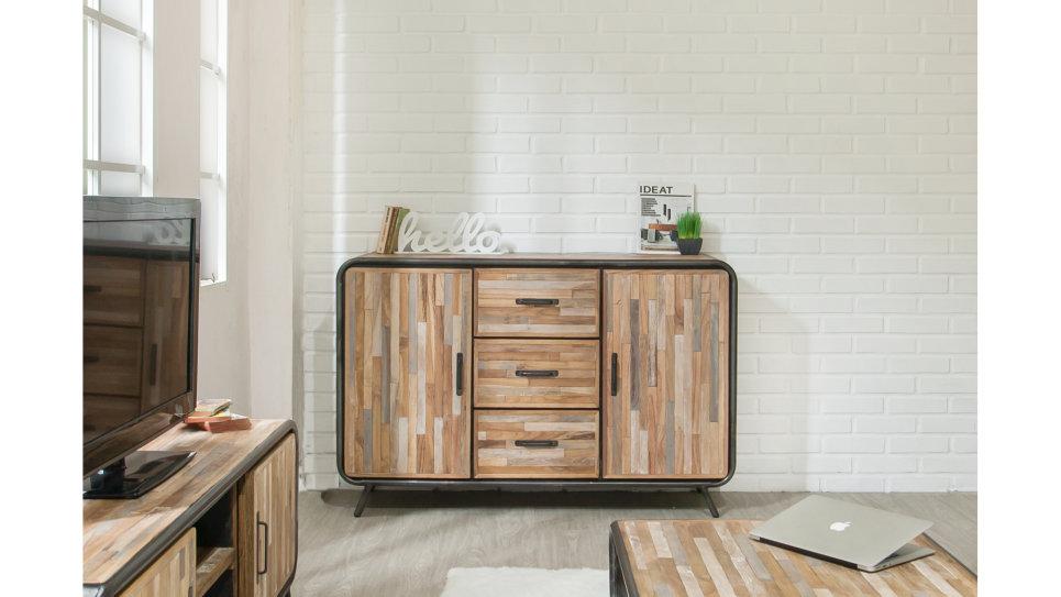Buffet 2 portes 3 tiroirs métal et Teck recyclé 140 cm - FUSION