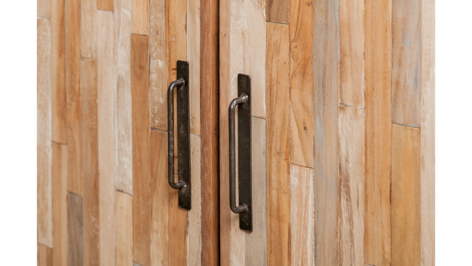 Buffet 3 portes métal et Teck recyclé 140 cm - FUSION