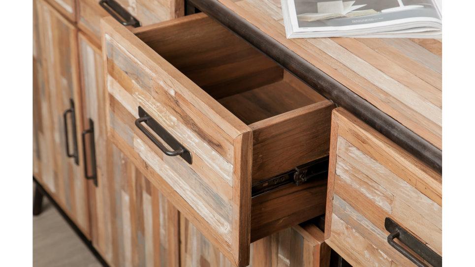 Buffet 4 portes 4 tiroirs métal et Teck recyclé 160 cm - FUSION
