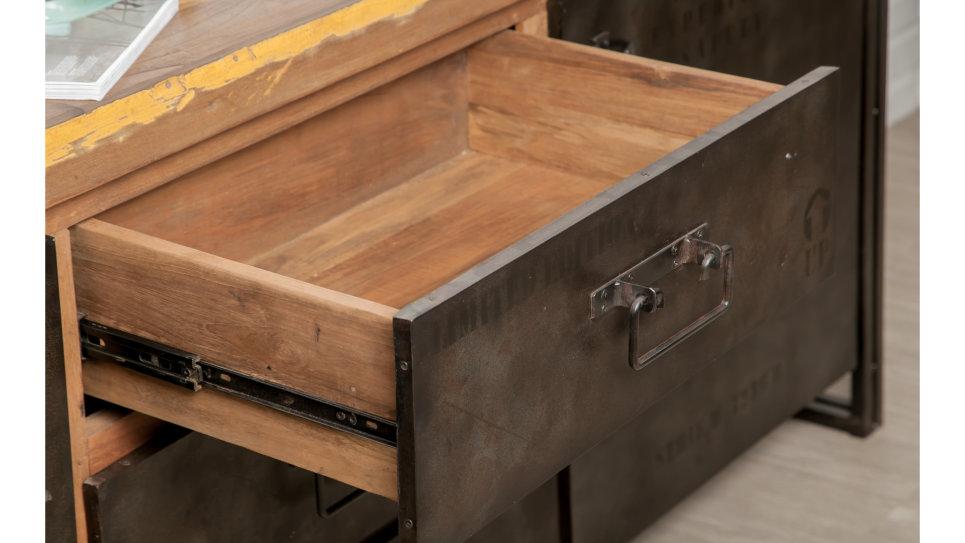 Buffet 2 portes et 3 tiroirs Teck recyclé 190 cm - LOFT