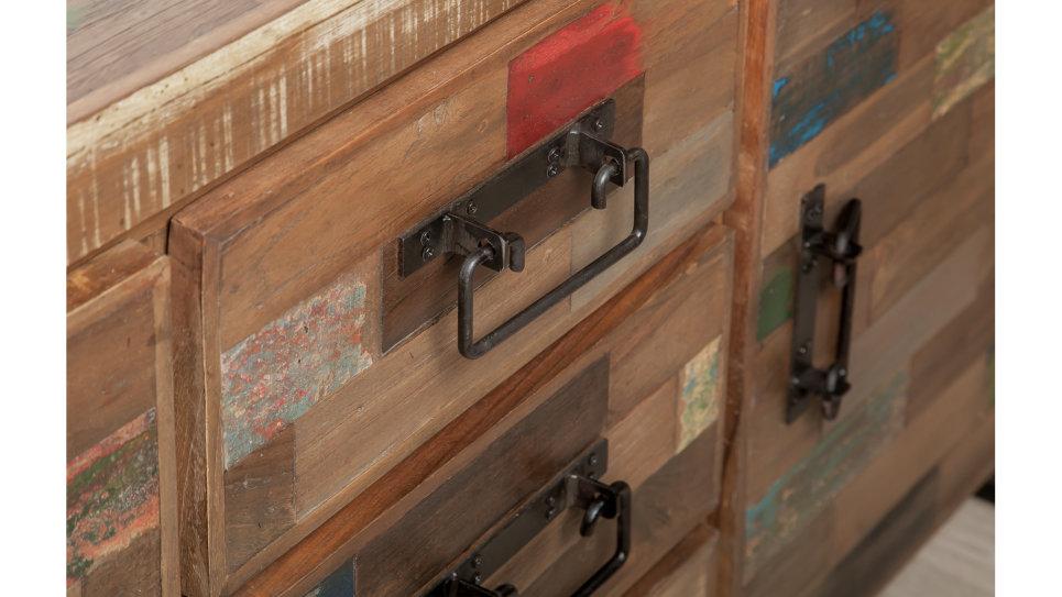 Buffet 2 portes et 3 tiroirs Teck recyclé 140 cm - LOFT
