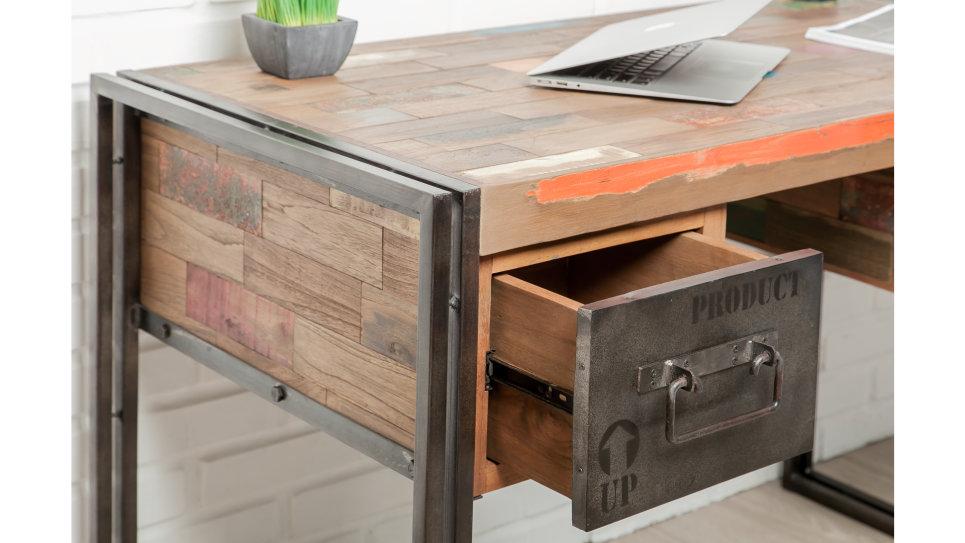 Bureau plateau Teck recyclé 120 x 60 cm - LOFT