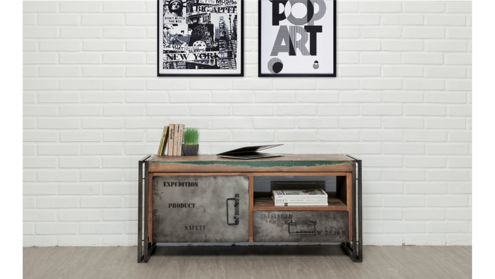 Meuble Tv 1 porte 1 niche 1 tiroir Teck recyclé 110 cm - LOFT