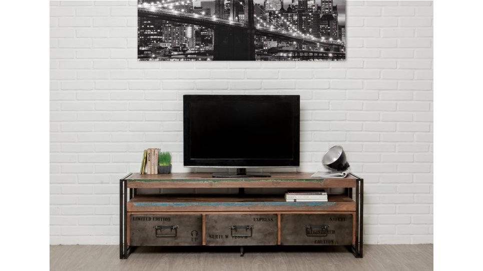 Meuble Tv 3 Tiroirs 1 Niche Teck recyclé 160 cm - LOFT