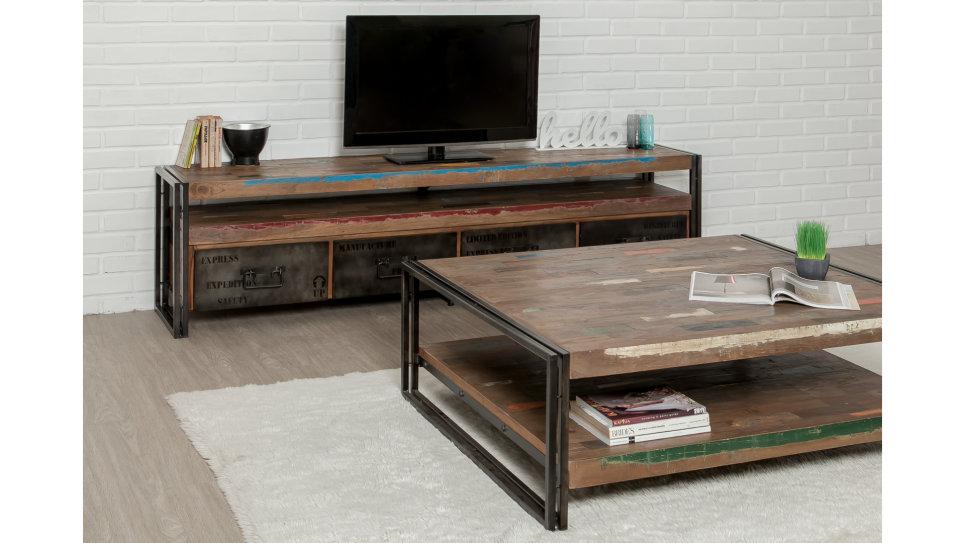 Meuble Tv 4 Tiroirs 1 Niche Teck recyclé 210 cm - LOFT