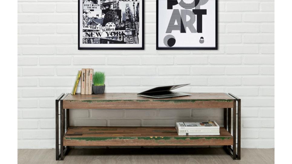 Meuble Tv double plateau Teck recyclé 120 cm - LOFT
