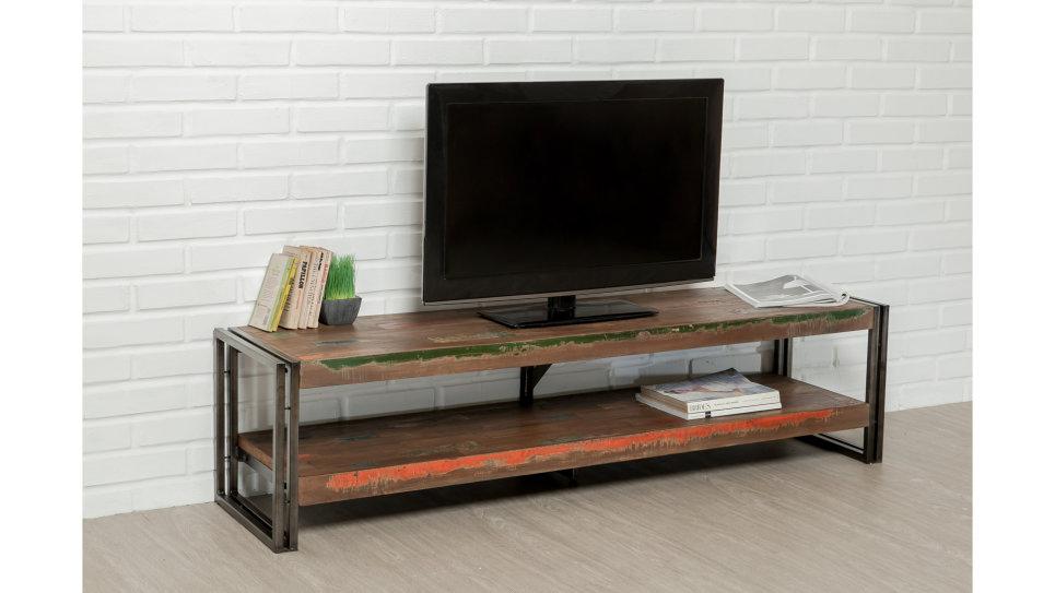 Meuble Tv double plateau Teck recyclé 160 cm - LOFT