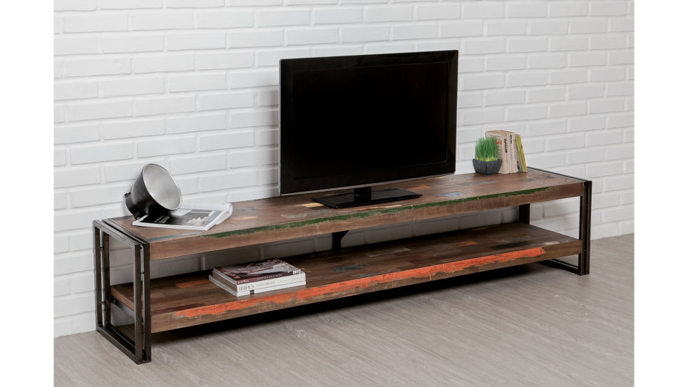 Meuble Tv double plateau Teck recyclé 200 cm - LOFT