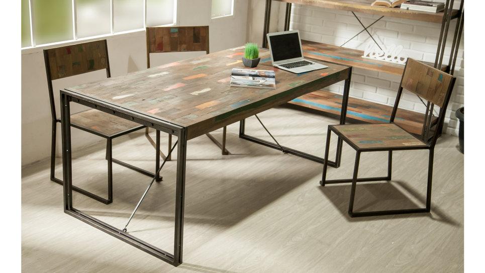 Table à diner plateau Teck recyclé 180 x 90 cm - LOFT