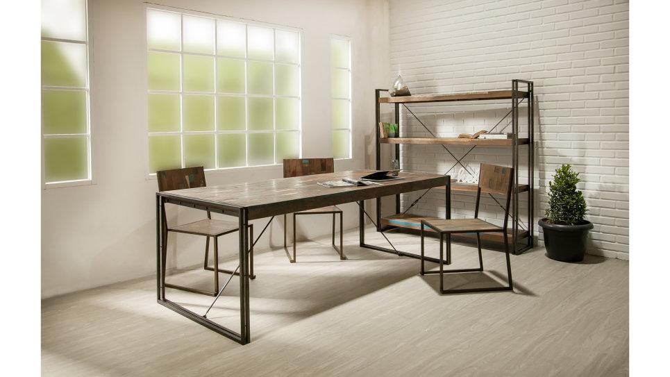 Table à diner plateau Teck recyclé 220 x 100 cm - LOFT