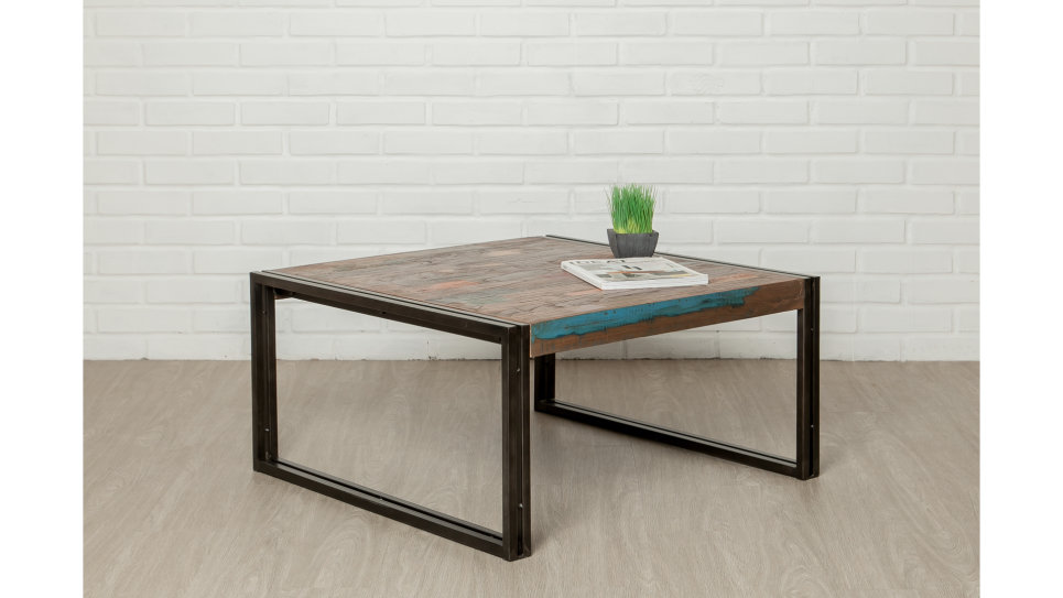 Table Basse Plateau Teck Recyclé 80 X 80 Cm Loft Delorm Design