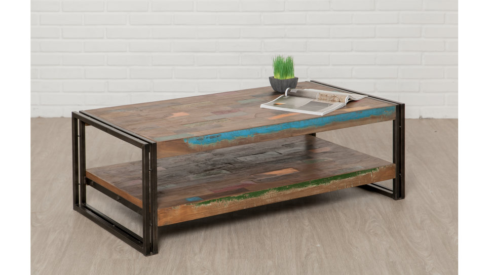 Table Basse Plateau Teck Recyclé 120 X 60 Cm Loft Delorm Design