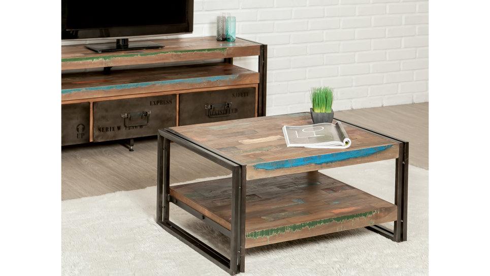 Table basse plateau Teck recyclé 80 x 60 cm - LOFT
