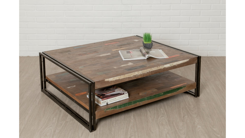 Table basse plateau Teck recyclé 120 x 100 cm - LOFT