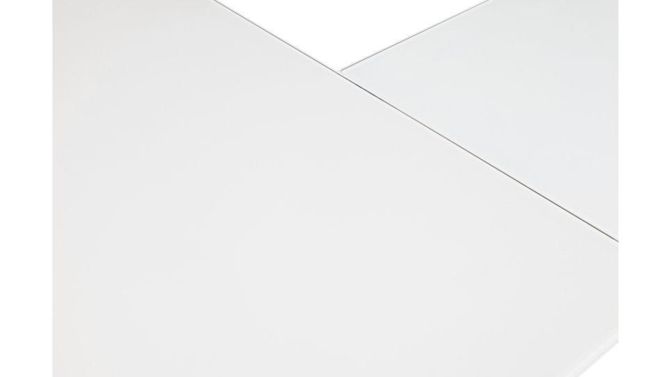 Bureau d'angle plateau verre blanc - Haumea