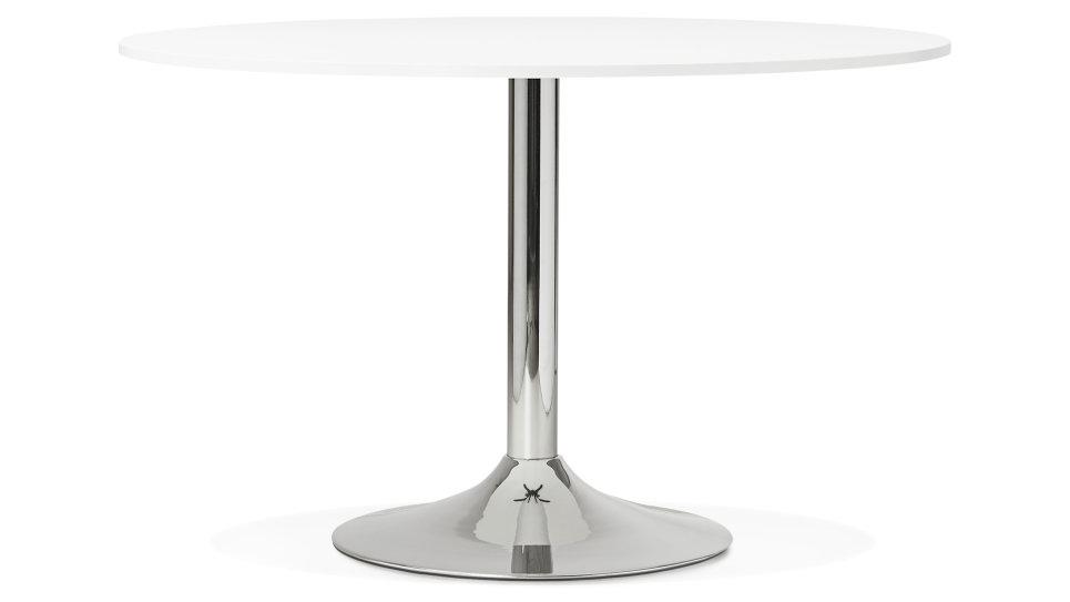 Table ronde D120 cm plateau Blanc pied Chromé - Dino