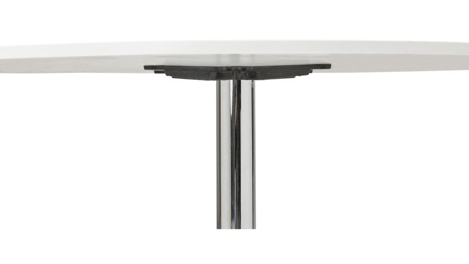 Table ronde D90 cm plateau blanc pied Chromé - Dino