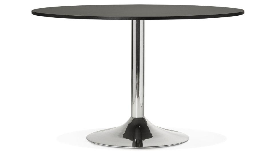 Table ronde D120 cm plateau Noir pied Chromé - Dino